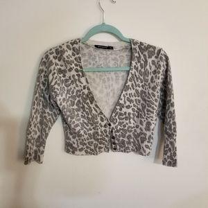 Atmosphere Wool Leopard Print Cropped Cardigan